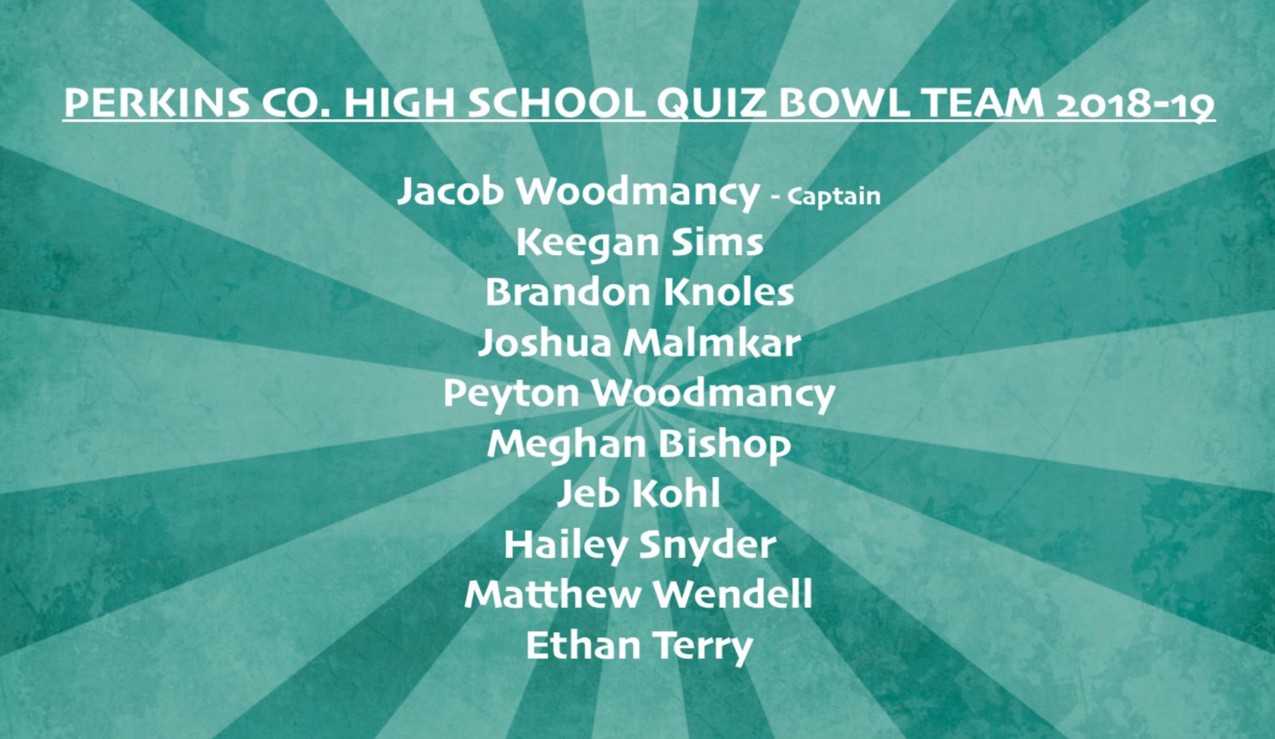 perkins county schools high school quiz bowl team announced for